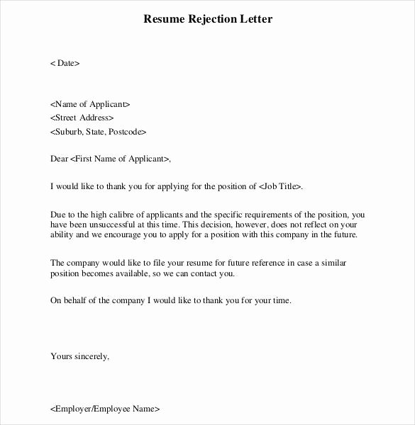 Application Rejection Letter Template Luxury Rejection Letter