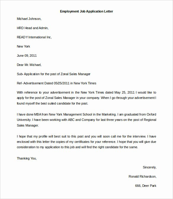 Apply for Job Letter Lovely 11 Free Employment Letter Template Doc Pdf