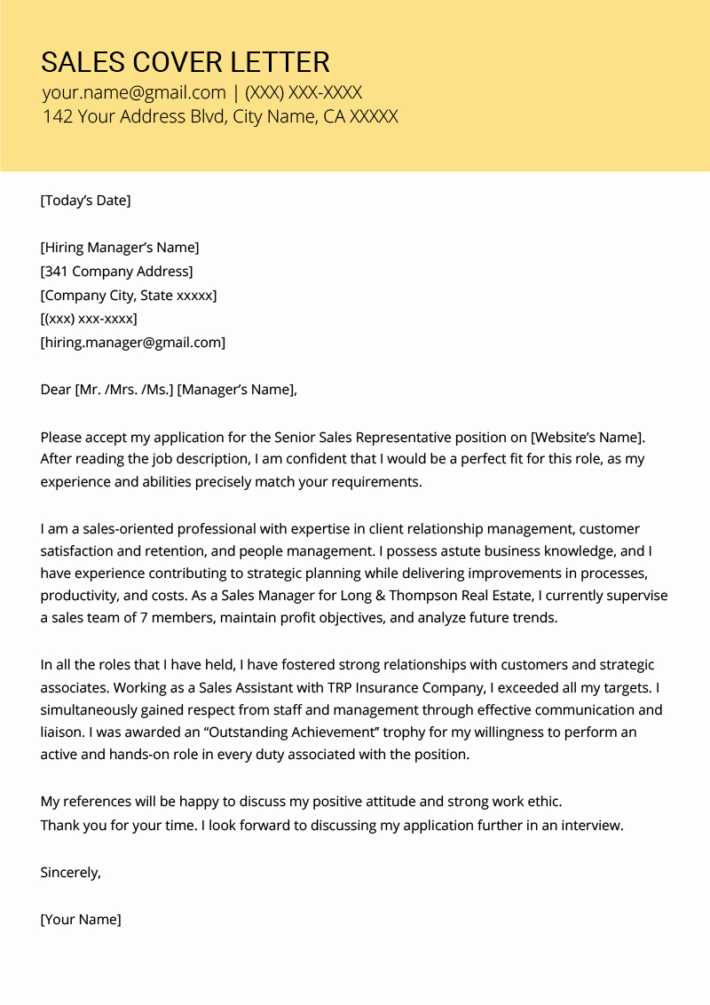 Apply for Job Letter Lovely Sales Cover Letter Example