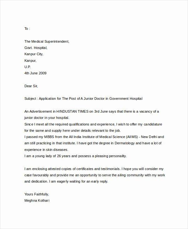 Apply for Job Letter Unique 10 Sample Job Application Letter for Doctors