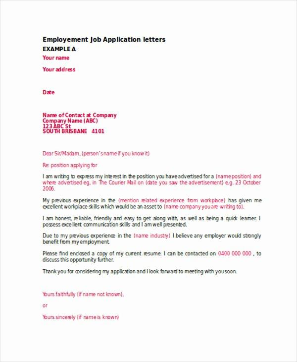 Applying for Job Letter Best Of Free 54 Application Letter Examples & Samples In Editable