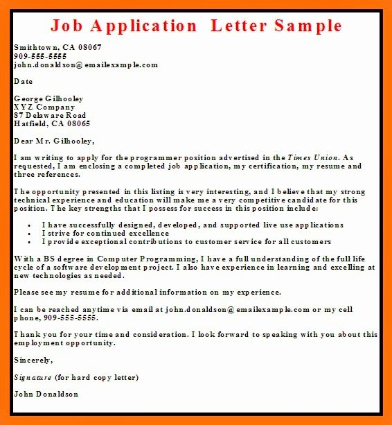 Applying for Job Letter Unique Job Application Letter