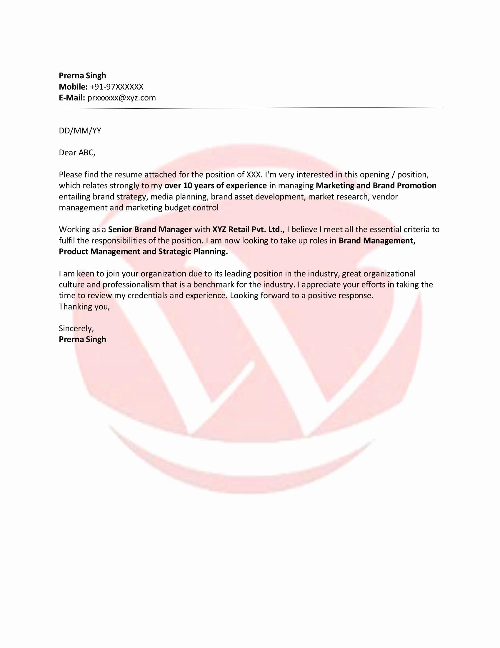 Applying for Job Letter Unique Job Application Sample Letter format Download Letter