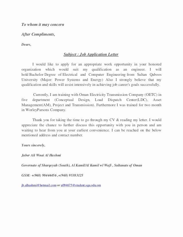 Applying for Job Letters Fresh Job Application Letter
