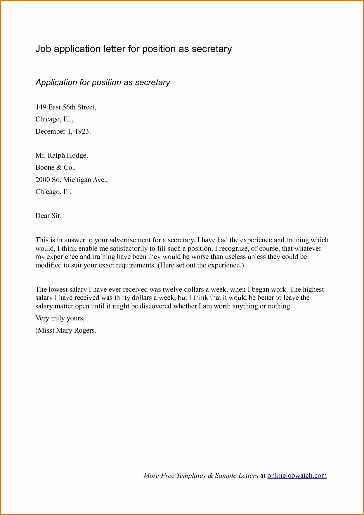 Applying for Job Letters Fresh Sample Cover Letter format for Job Application