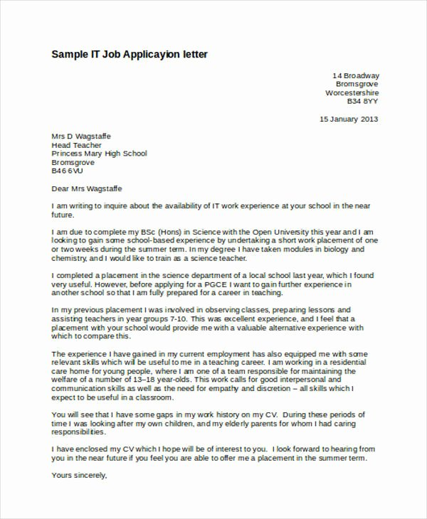 Applying for Job Letters Inspirational Free 54 Application Letter Examples & Samples In Editable