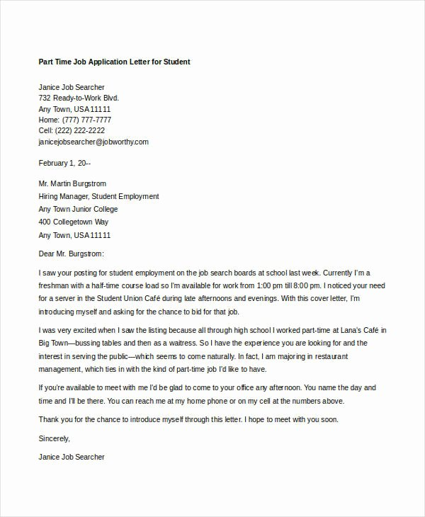Applying for Job Letters New 10 Sample Job Application Letters for Student Free