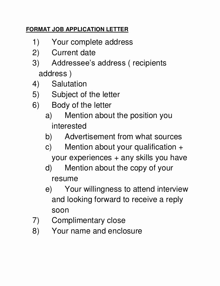 Applying for Jobs Letter Elegant format Job Application Letter