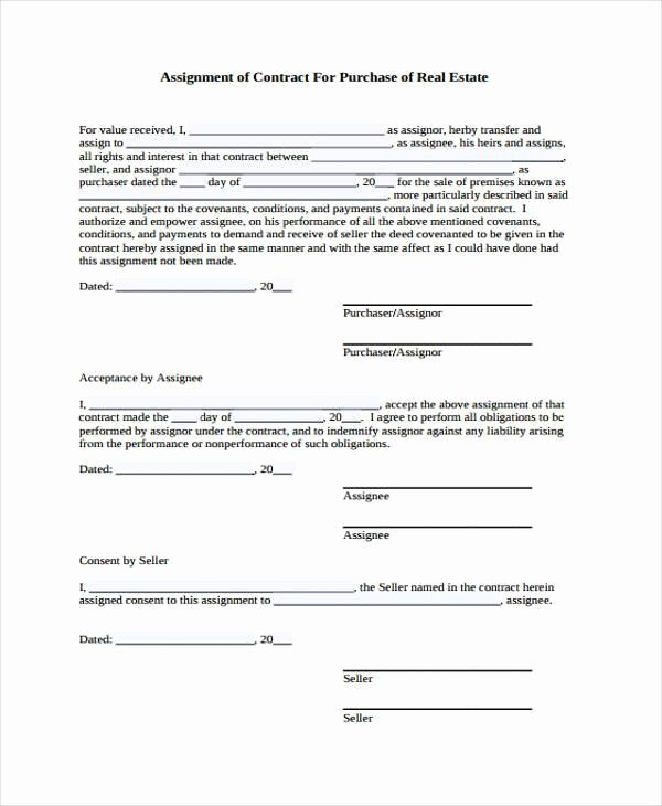 Assignment Of Contract Template Awesome Sample Contract forms