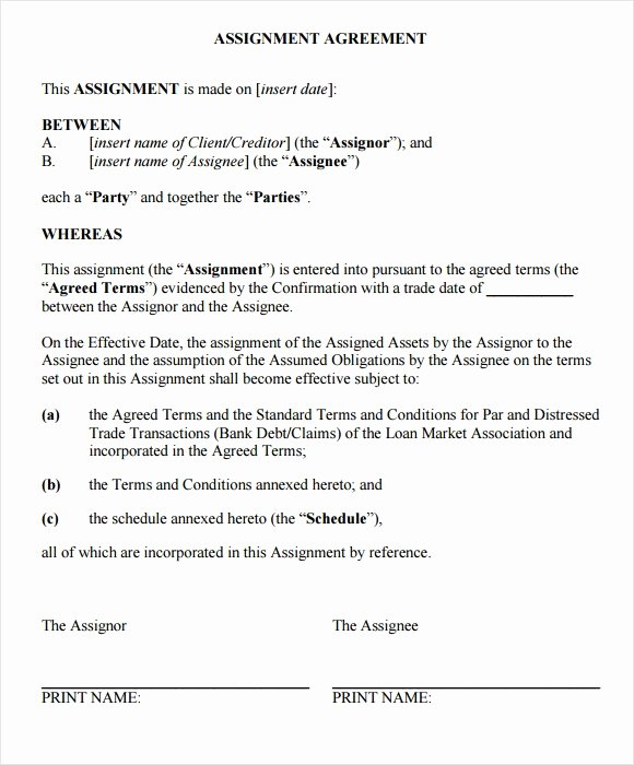 Assignment Of Contract Template Best Of Free 11 Sample assignment Agreements In Google Docs