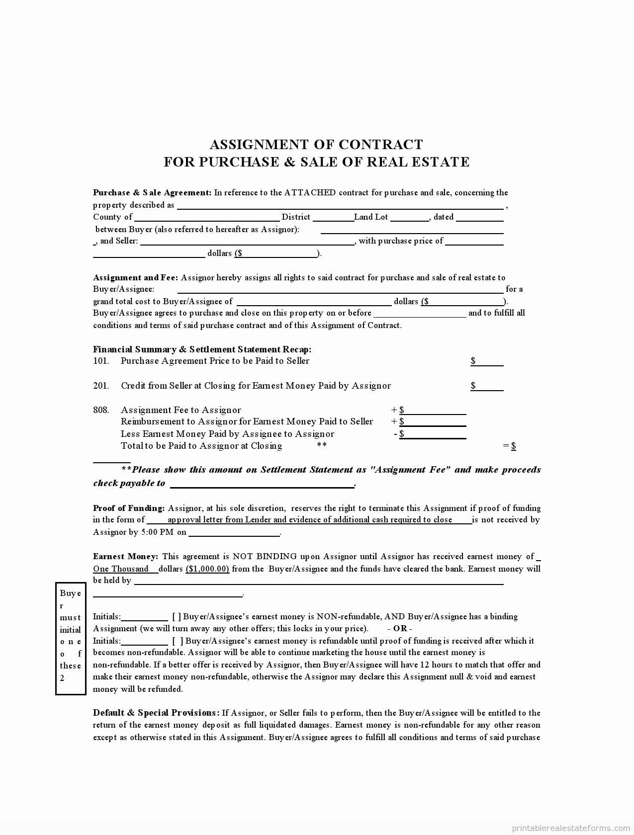 Assignment Of Contract Template Best Of Free assignment Contract form Real Estate Sample