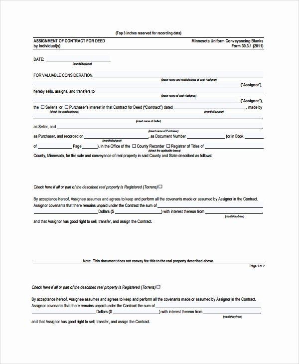 Assignment Of Contract Template Fresh Sample assignment Of Contract 6 Free Documents Download