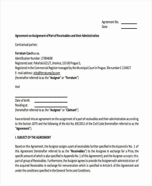 Assignment Of Contract Template Lovely 17 assignment Agreement Templates Word Pdf Pages