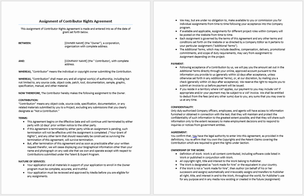 Assignment Of Contract Template Lovely assignment Of Contributor Rights Agreement Template