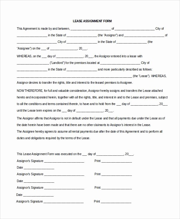 Assignment Of Contract Template Luxury Sample assignment Of Lease 9 Free Documents Download In