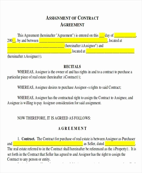 Assignment Of Contract Template Unique assignment Contract Template