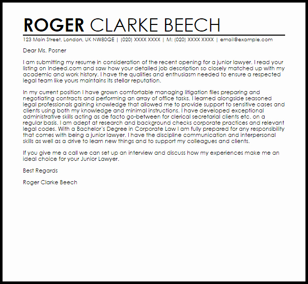 Attorney Cover Letters Samples Awesome Junior Lawyer Cover Letter Sample