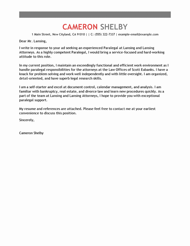 Attorney Cover Letters Samples Beautiful Best Paralegal Cover Letter Examples