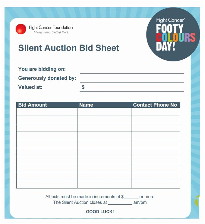 Auction Bid Sheet Template Beautiful 20 Silent Auction Bid Sheet Templates & Samples Doc
