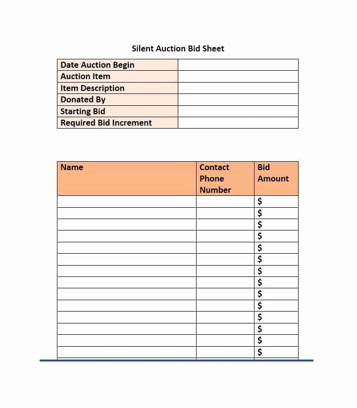 Auction Bid Sheet Template Beautiful 40 Silent Auction Bid Sheet Templates [word Excel]