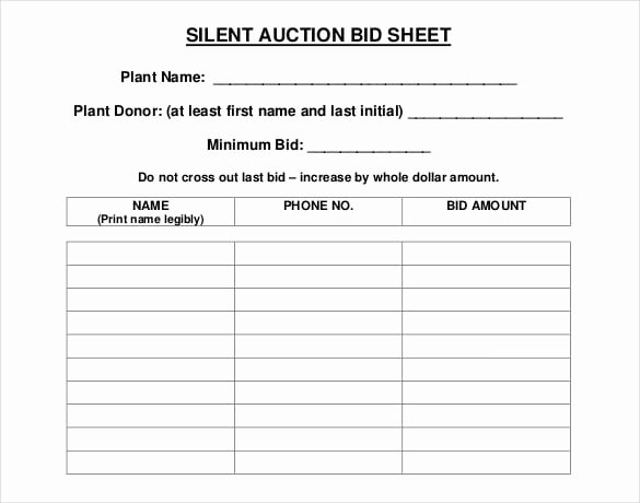 Auction Bid Sheet Template Beautiful 5 Auction Bid Sheets Templates formats Examples In Word