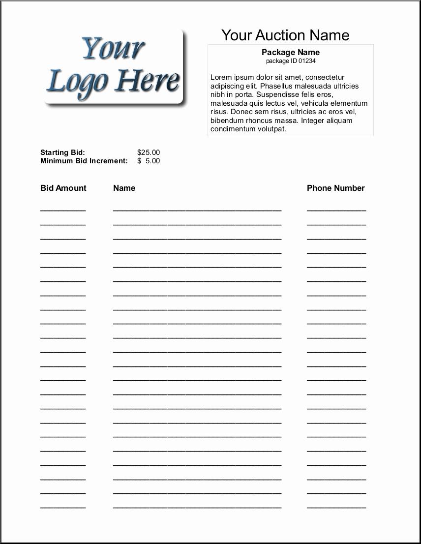 Auction Bid Sheet Template Fresh 16 Silent Auction Bid Sheet Templates Free Sample Templates