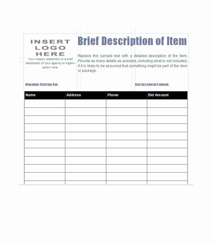 Auction Bid Sheet Template Fresh 40 Silent Auction Bid Sheet Templates [word Excel]