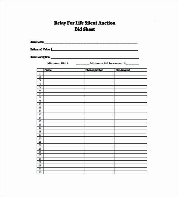 Auction Bid Sheet Template Inspirational Silent Auction Bid Sheet