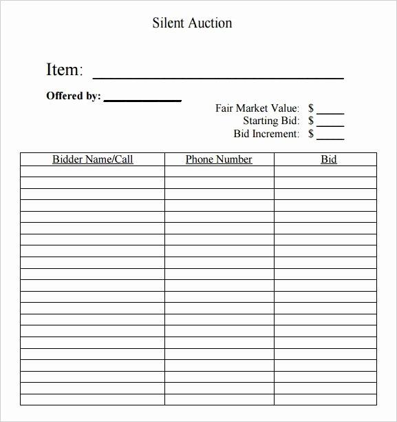 Auction Bid Sheet Template Inspirational Silent Auction Bid Template