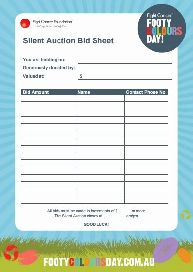 Auction Bid Sheet Template Lovely 12 Silent Auction forms Template