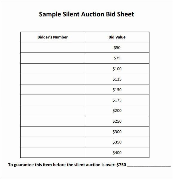 Auction Bid Sheet Template Lovely Silent Auction Bid Sheet Template