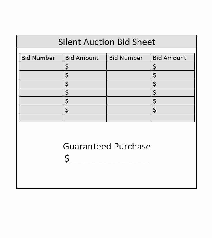 Auction Bid Sheet Template Luxury Silent Auction Bid Sheet Template Free Word Printable