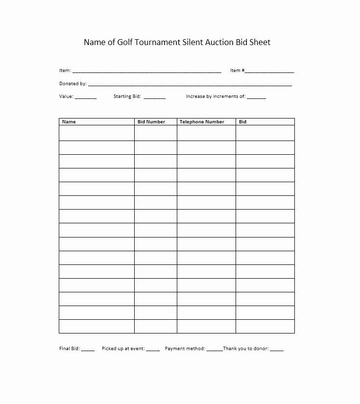 Auction Bid Sheet Template Unique 40 Silent Auction Bid Sheet Templates [word Excel]