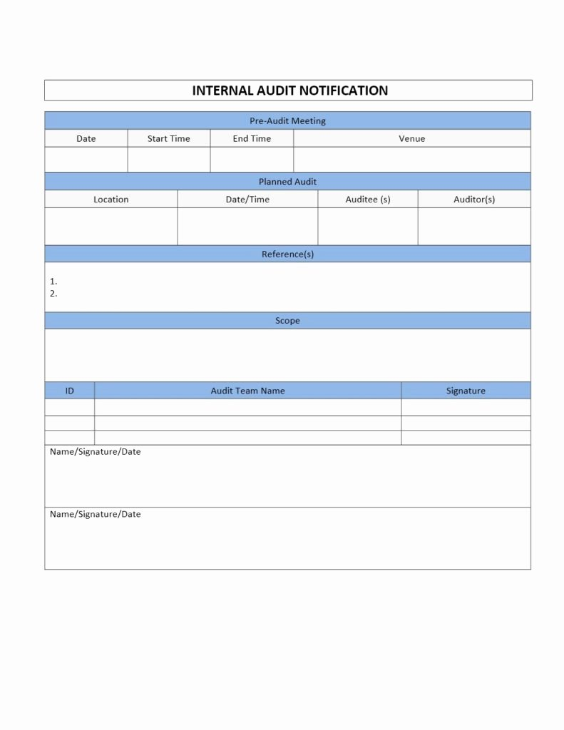 Audit Report Template Word Inspirational Internal Audit Notification