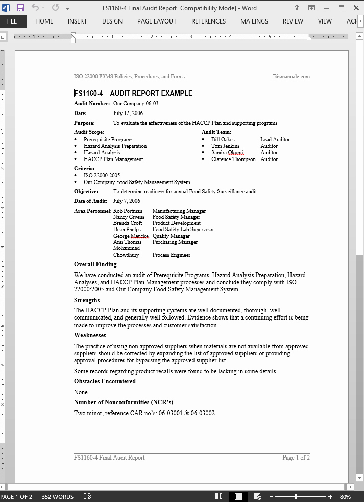 Audit Report Template Word Luxury Fsms Audit Report Example Template
