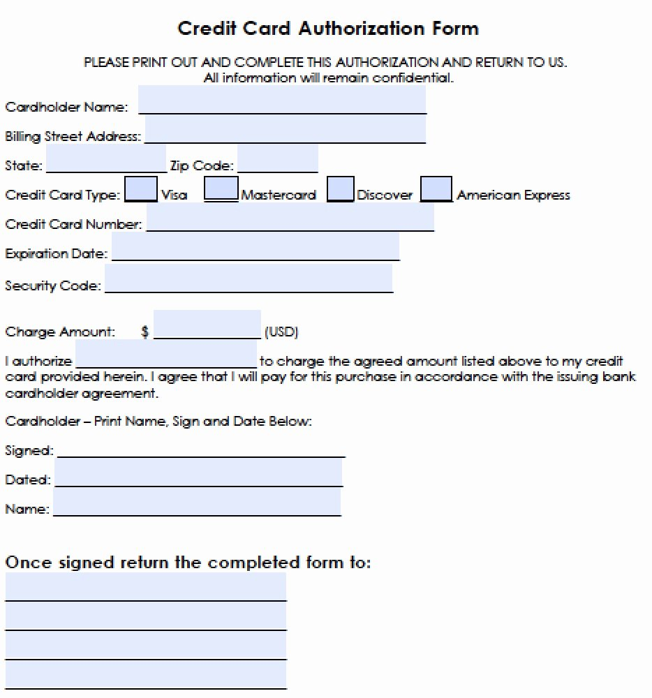 Authorization for Credit Card Use Awesome Download Generic Credit Card Authorization forms