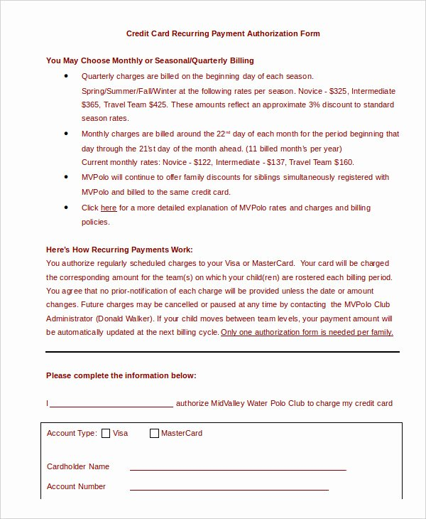 Authorization for Credit Card Use Beautiful Sample Credit Card Authorization form
