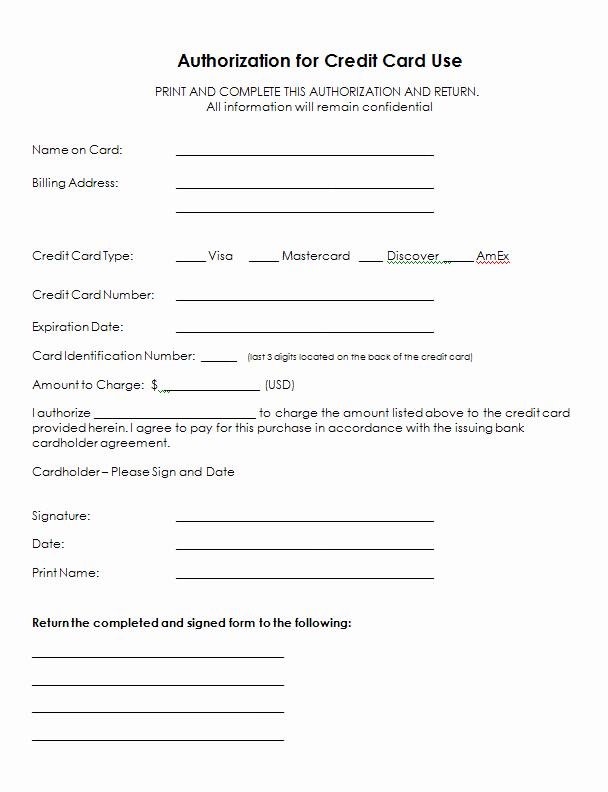 Authorization for Credit Card Use Elegant Authorization for Credit Card Use Free Authorization forms