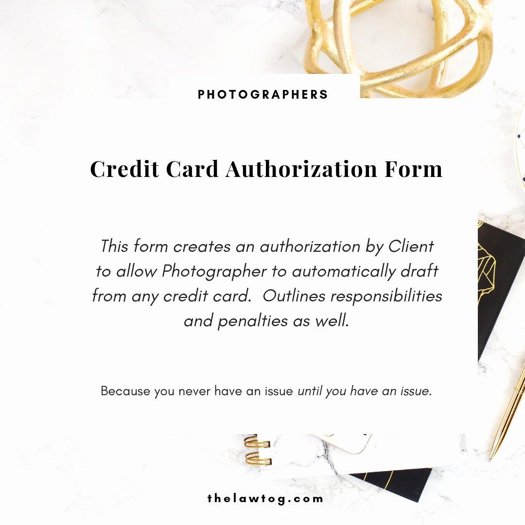 Authorization for Credit Card Use Elegant Credit Card Authorization form for Photographers