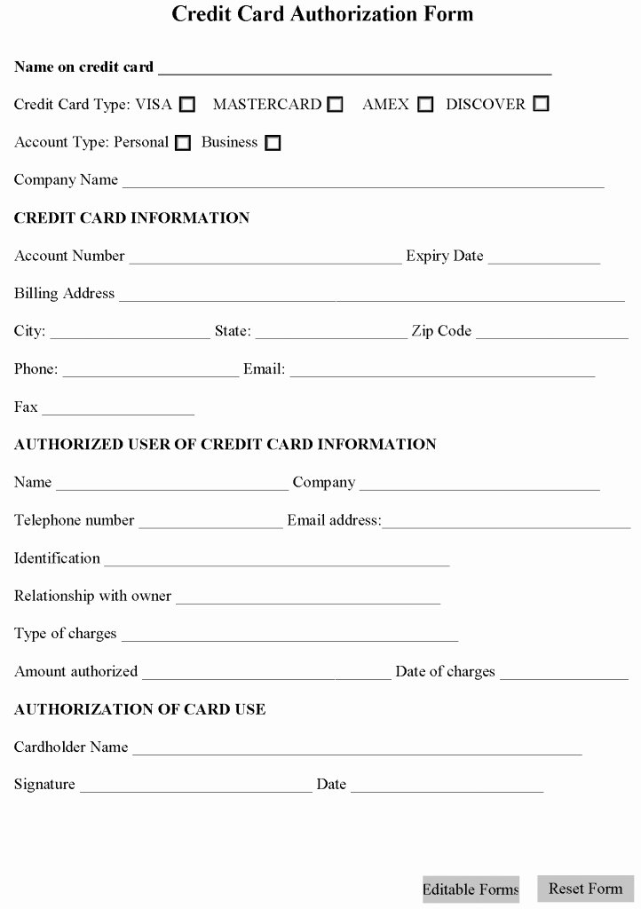 Authorization for Credit Card Use Inspirational Credit Card Authorization form Template