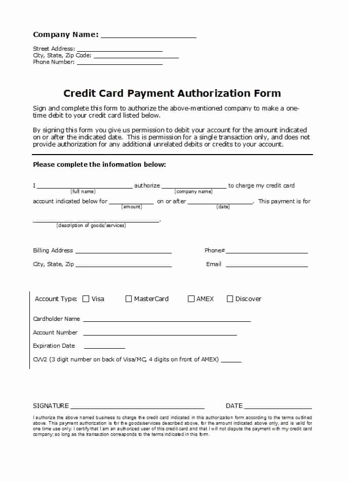 Authorization for Credit Card Use Lovely 41 Credit Card Authorization forms Templates Ready to Use