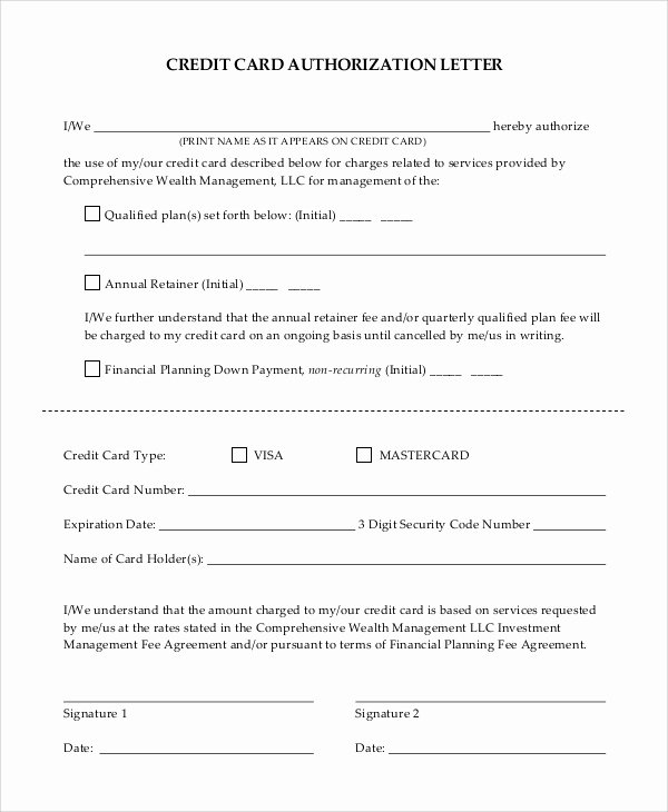 Authorization for Credit Card Use Lovely Sample Authorization Letter 9 Examples In Pdf