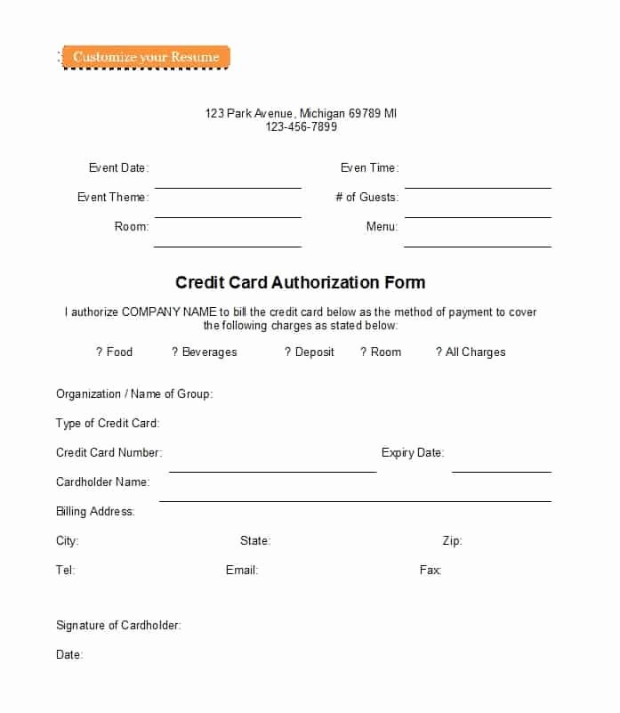 Authorization for Credit Card Use Luxury 41 Credit Card Authorization forms Templates Ready to Use