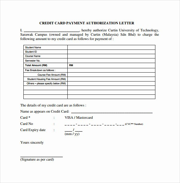 Authorization for Credit Card Use New Credit Card Authorization Letter 10 Download Documents