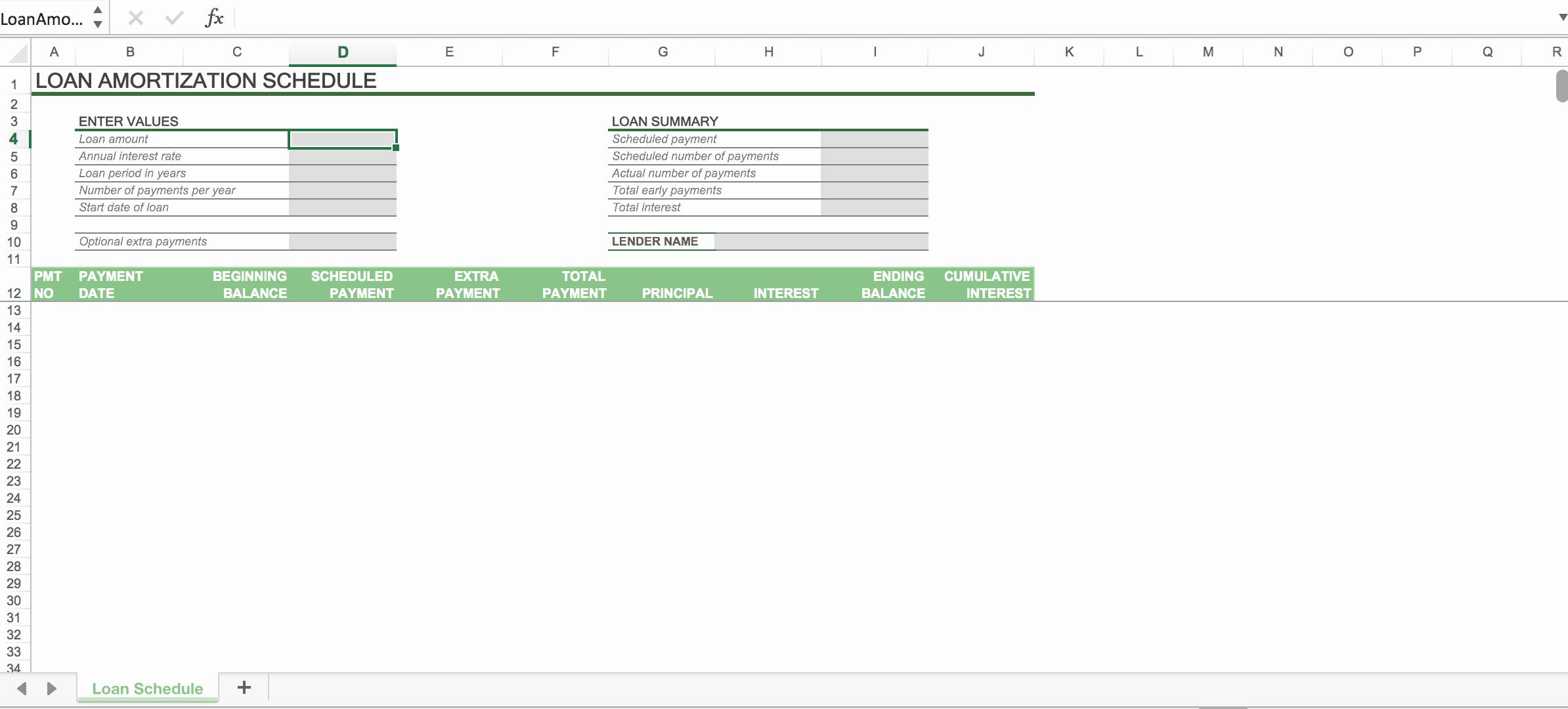 Auto Amortization Schedule Excel Elegant Car Loan Amortization Schedule Excel with Extra Payments