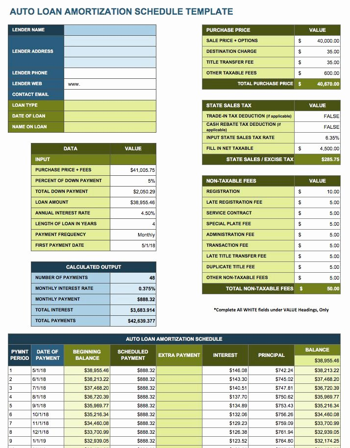 Auto Amortization Schedule Excel Luxury Free Excel Amortization Schedule Templates Smartsheet