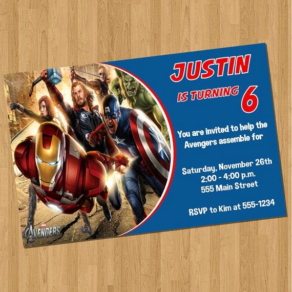 Avenger Birthday Party Invitations Awesome Avengers Birthday Invitations Kosta 6