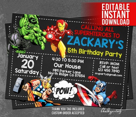 Avenger Birthday Party Invitations Best Of Avengers Invitation Instant Download Avengers Invitations