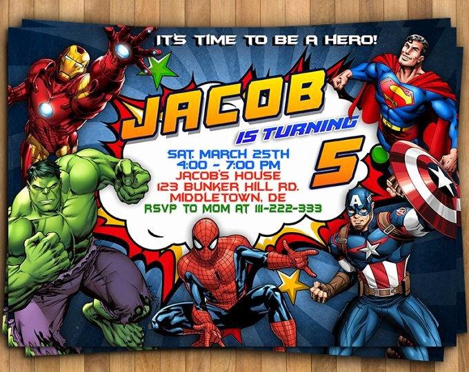 Avenger Birthday Party Invitations Elegant Superhero Invitation Superhero Avenger Birthday