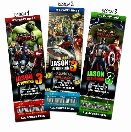 Avenger Birthday Party Invitations Elegant the Avengers Birthday Invitation Party Ticket Custom